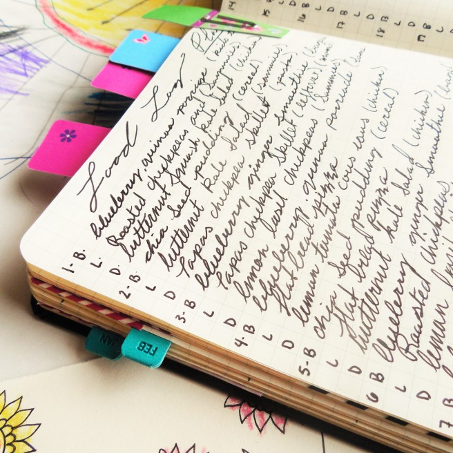 Meal planning in a bullet journal. How to use a bullet journal as a stay at home mom